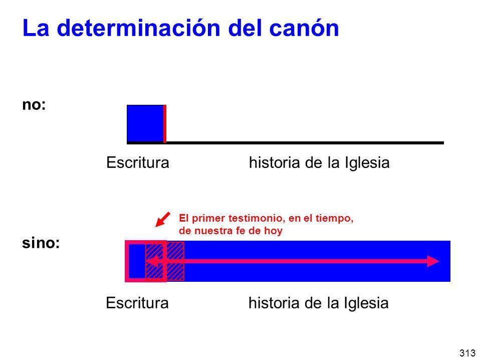 313 La determinación del canón no: Escritura historia de la Iglesia sino: Escritura historia de la Iglesia El primer testimonio, en el tiempo, de nuestra fe de hoy