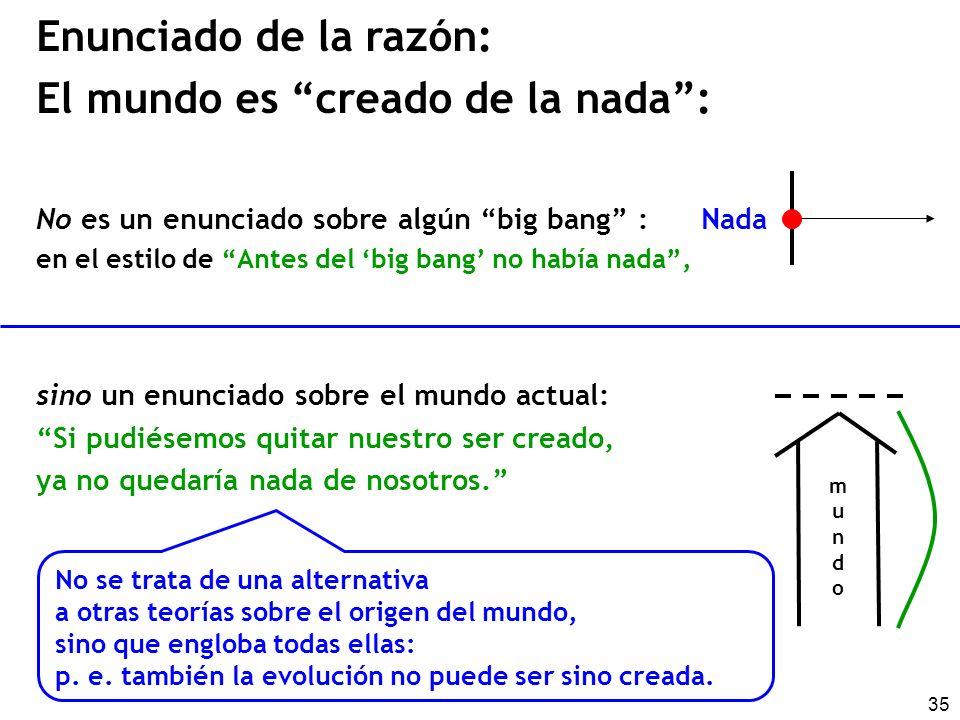 35 Enunciado de la razón: El mundo es creado de la nada: No es un enunciado sobre algún big bang : Nada en el estilo de Antes del big bang no había na