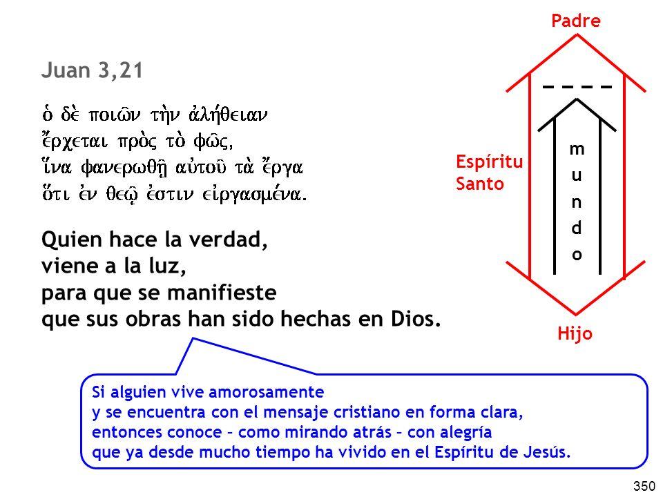 350 Juan 3,21 Quien hace la verdad, viene a la luz, para que se manifieste que sus obras han sido hechas en Dios. Si alguien vive amorosamente y se en