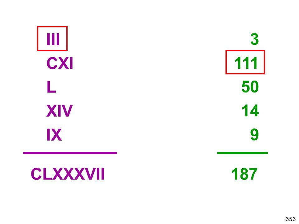 356 III CXI L XIV IX 3 111 50 14 9 CLXXXVII 187