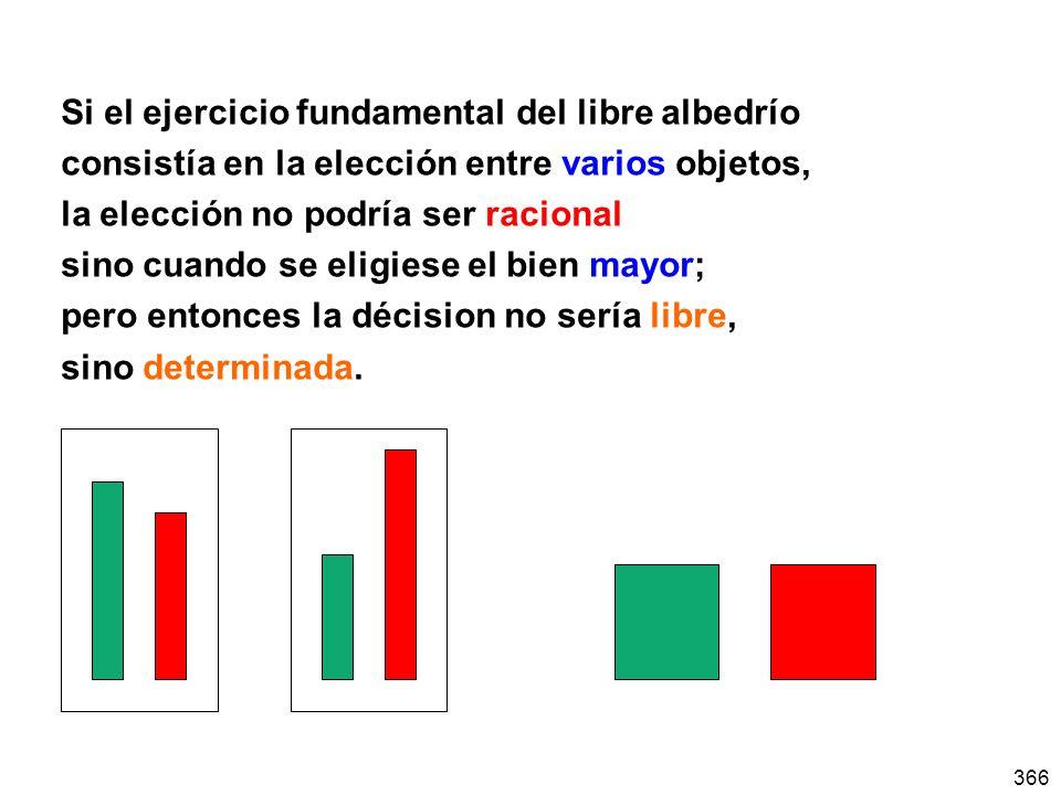 366 Si el ejercicio fundamental del libre albedrío consistía en la elección entre varios objetos, la elección no podría ser racional sino cuando se el