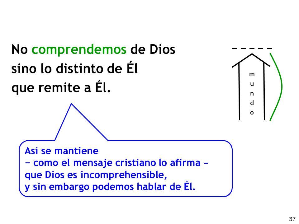 37 No comprendemos de Dios sino lo distinto de Él que remite a Él. mundomundo Así se mantiene como el mensaje cristiano lo afirma que Dios es incompre