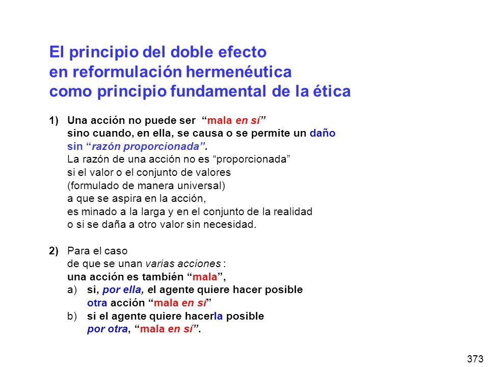 373 El principio del doble efecto en reformulación hermenéutica como principio fundamental de la ética 1)Una acción no puede ser mala en sí sino cuando, en ella, se causa o se permite un daño sin razón proporcionada.