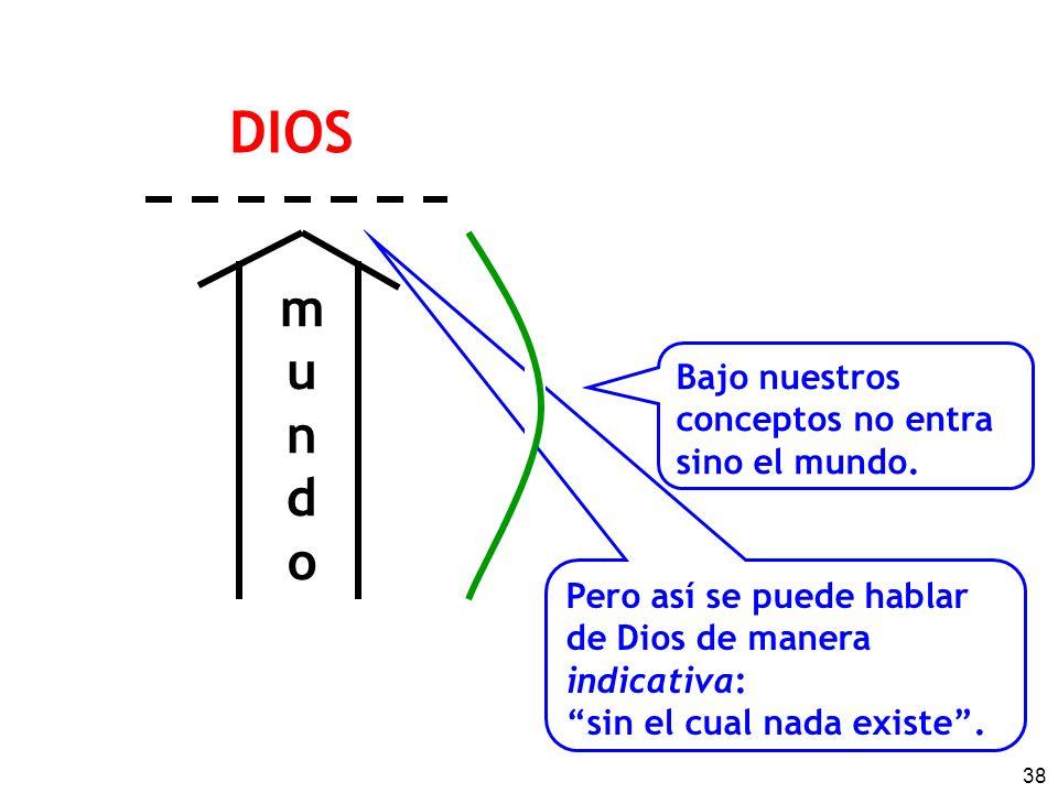 38 mundomundo Bajo nuestros conceptos no entra sino el mundo. Pero así se puede hablar de Dios de manera indicativa: sin el cual nada existe. DIOS