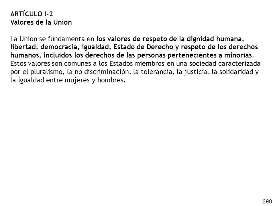 390 ARTÍCULO I-2 Valores de la Unión La Unión se fundamenta en los valores de respeto de la dignidad humana, libertad, democracia, igualdad, Estado de Derecho y respeto de los derechos humanos, incluidos los derechos de las personas pertenecientes a minorías.