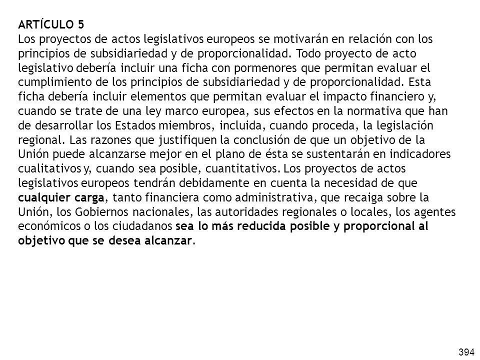 394 ARTÍCULO 5 Los proyectos de actos legislativos europeos se motivarán en relación con los principios de subsidiariedad y de proporcionalidad. Todo
