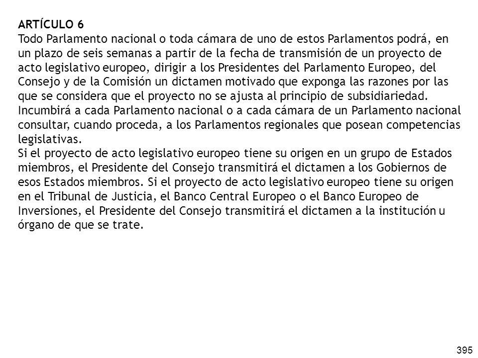 395 ARTÍCULO 6 Todo Parlamento nacional o toda cámara de uno de estos Parlamentos podrá, en un plazo de seis semanas a partir de la fecha de transmisi