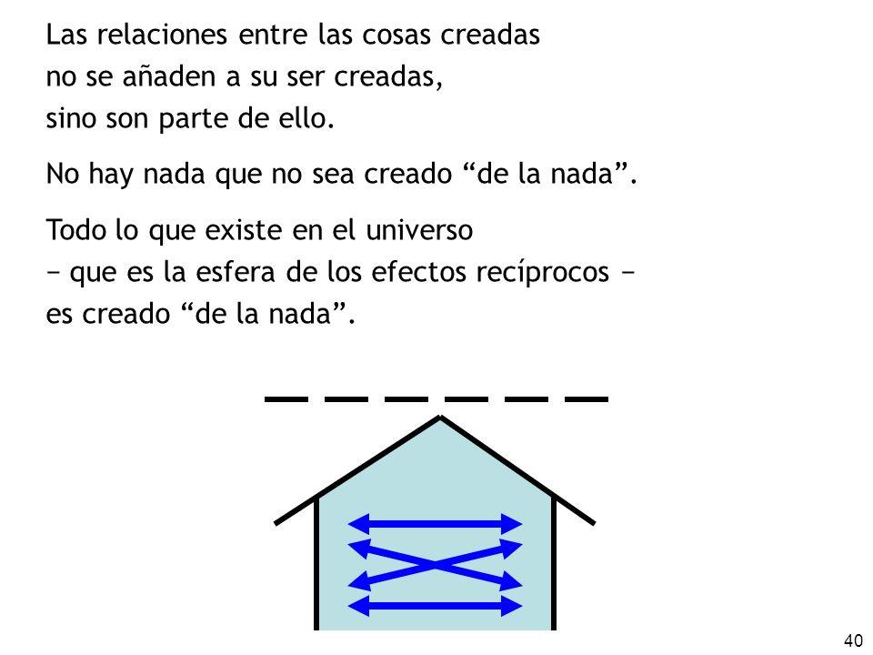 40 Las relaciones entre las cosas creadas no se añaden a su ser creadas, sino son parte de ello.