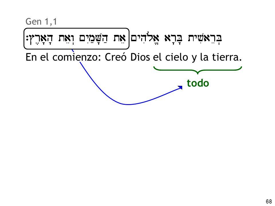 68 Gen 1,1 En el comienzo: Creó Dios el cielo y la tierra. todo