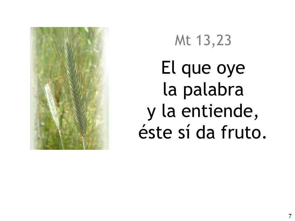 7 Mt 13,23 El que oye la palabra y la entiende, éste sí da fruto.