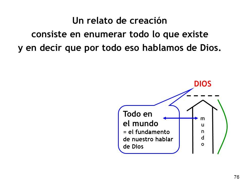 76 Un relato de creación consiste en enumerar todo lo que existe y en decir que por todo eso hablamos de Dios. mundomundo DIOS Todo en el mundo = el f