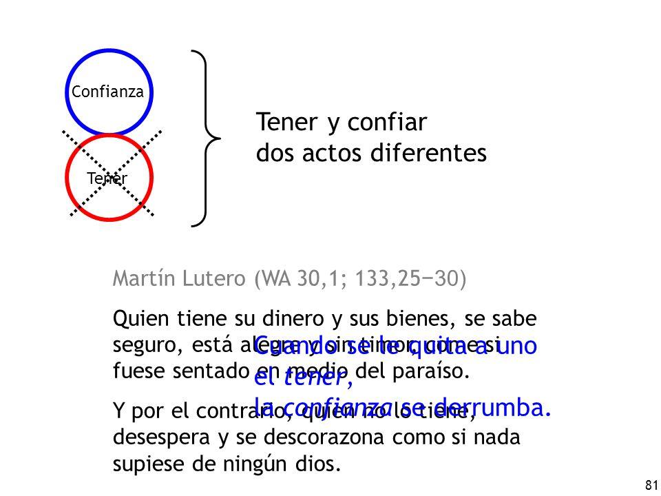 81 Tener Confianza Tener y confiar dos actos diferentes Martín Lutero (WA 30,1; 133,25 30) Quien tiene su dinero y sus bienes, se sabe seguro, está al