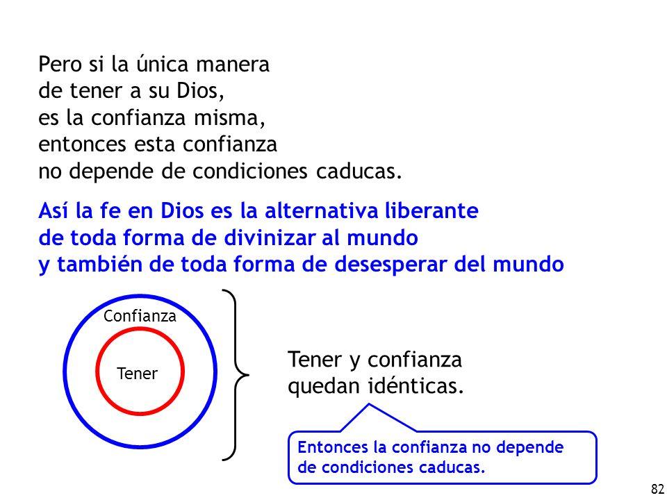 82 Pero si la única manera de tener a su Dios, es la confianza misma, entonces esta confianza no depende de condiciones caducas.