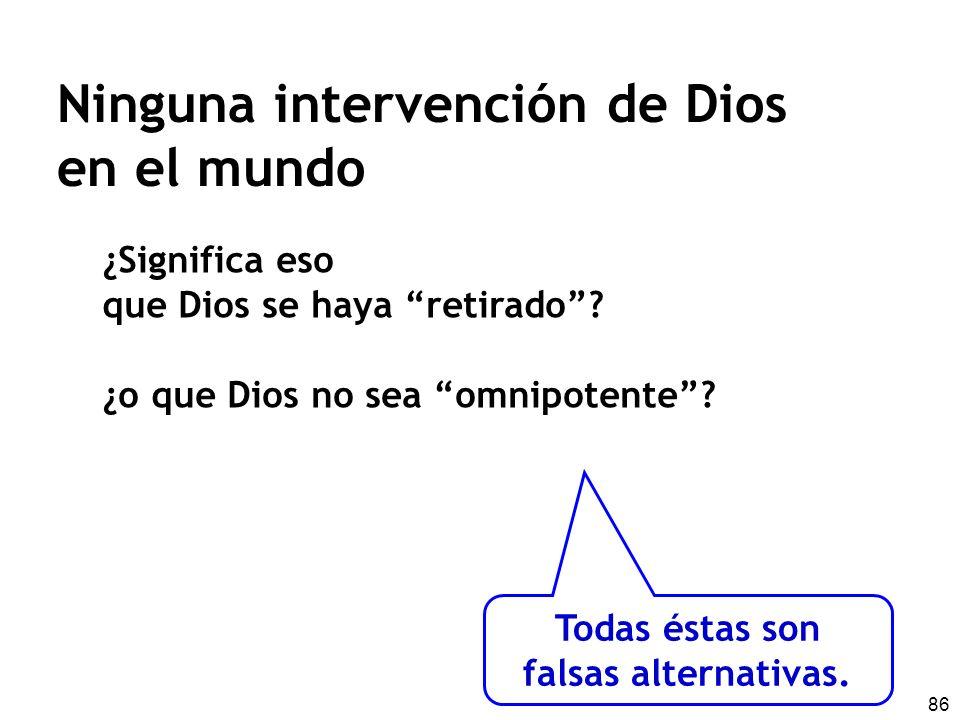 86 Ninguna intervención de Dios en el mundo ¿Significa eso que Dios se haya retirado? ¿o que Dios no sea omnipotente? Todas éstas son falsas alternati