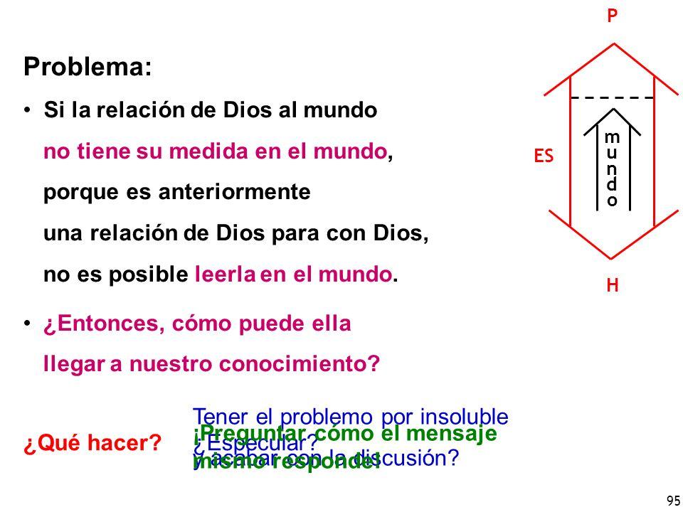 95 Problema: Si la relación de Dios al mundo no tiene su medida en el mundo, porque es anteriormente una relación de Dios para con Dios, no es posible leerla en el mundo.