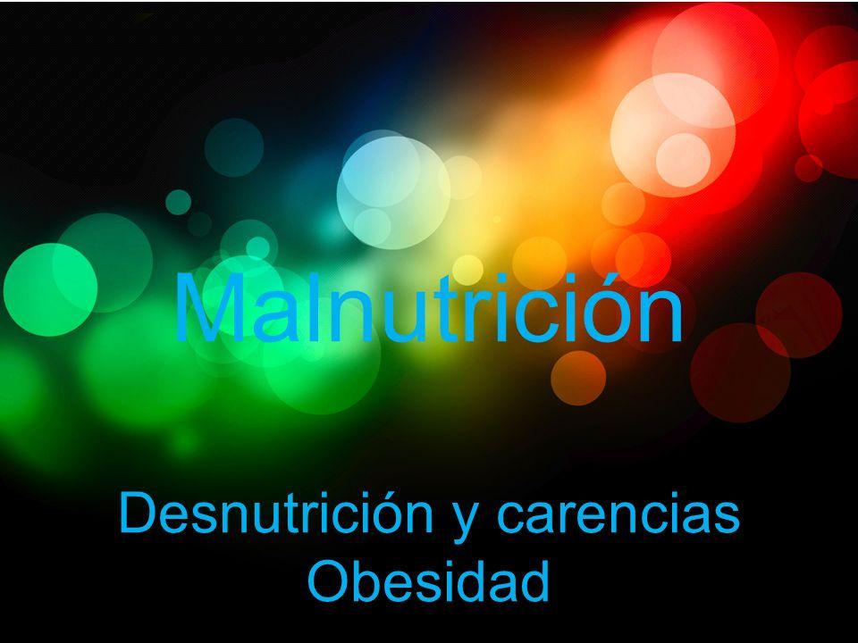 Malnutrición Desnutrición y carencias Obesidad