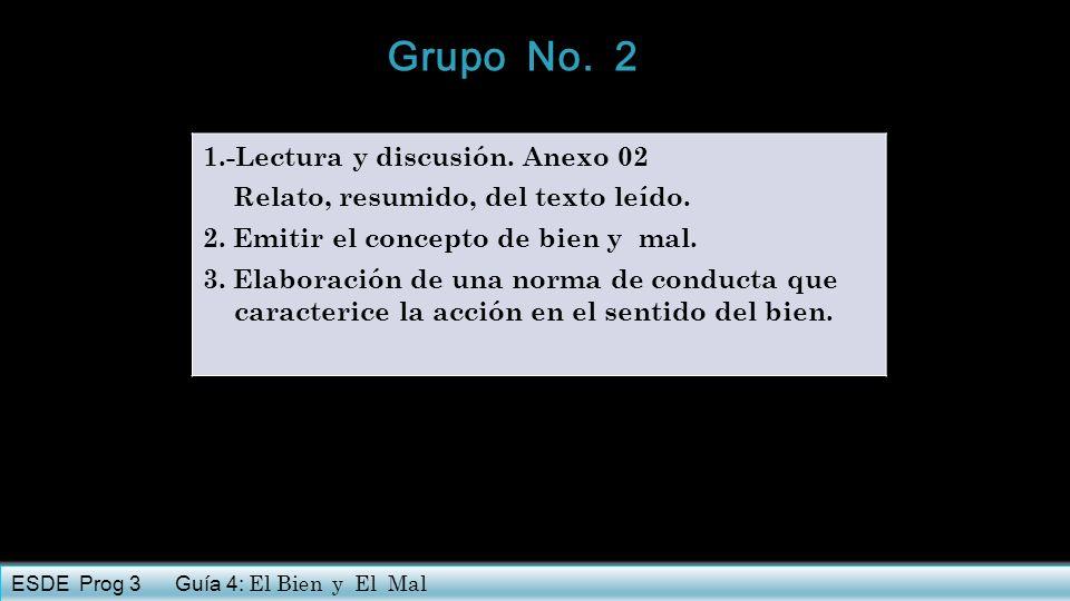 1.-Lectura y discusión. Anexo 02 Relato, resumido, del texto leído. 2. Emitir el concepto de bien y mal. 3. Elaboración de una norma de conducta que c