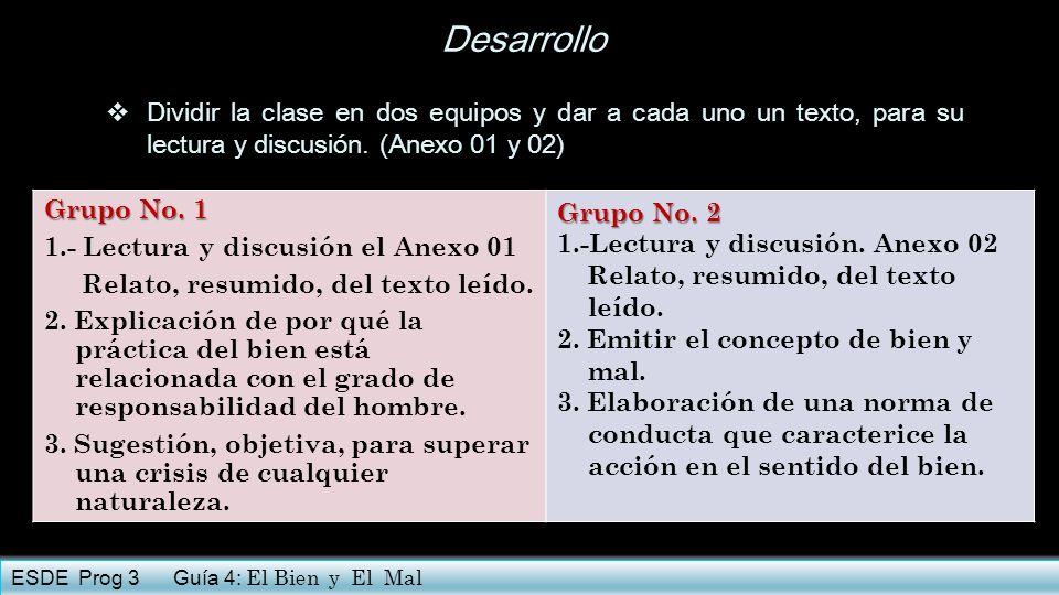 Desarrollo Dividir la clase en dos equipos y dar a cada uno un texto, para su lectura y discusión. (Anexo 01 y 02) Grupo No. 1 1.- Lectura y discusión