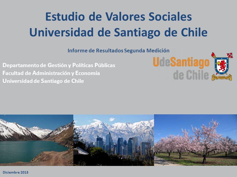 Estudio de Valores Sociales Universidad de Santiago de Chile Informe de Resultados Segunda Medición D epartamento de G estión y P olíticas P úblicas F