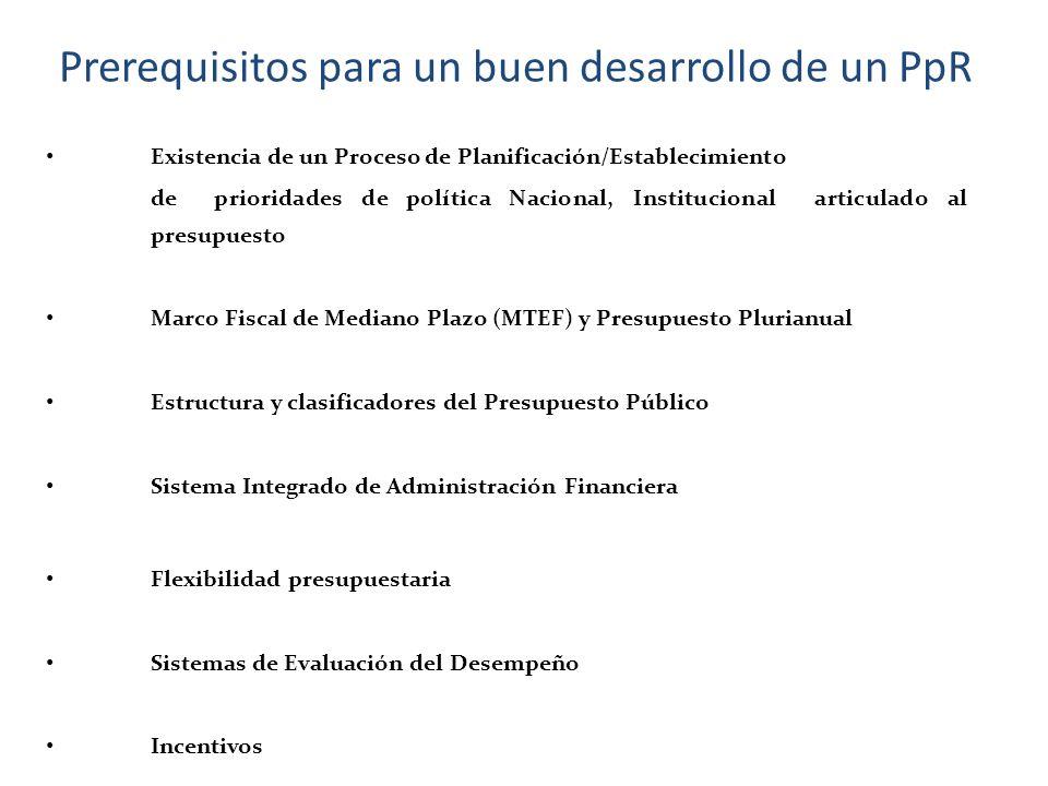 Prerequisitos para un buen desarrollo de un PpR Existencia de un Proceso de Planificación/Establecimiento de prioridades de política Nacional, Institu