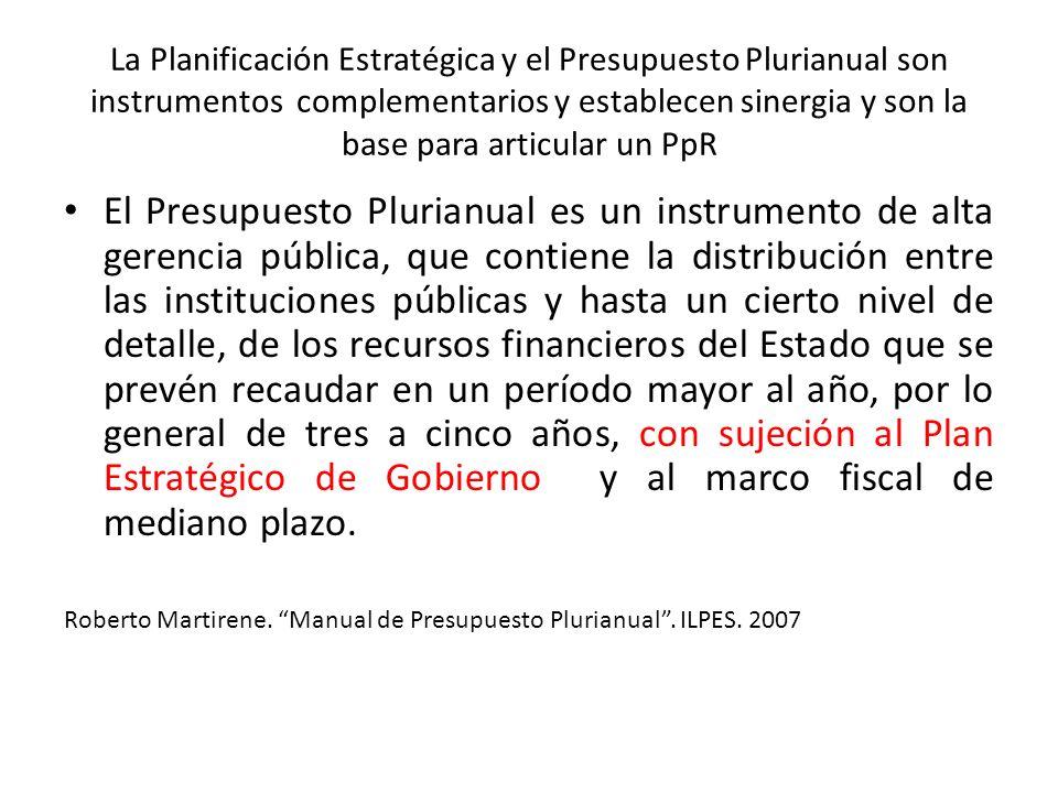 La Planificación Estratégica y el Presupuesto Plurianual son instrumentos complementarios y establecen sinergia y son la base para articular un PpR El