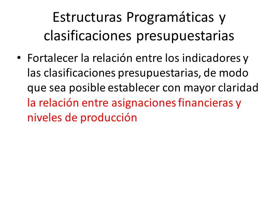 Estructuras Programáticas y clasificaciones presupuestarias Fortalecer la relación entre los indicadores y las clasificaciones presupuestarias, de mod