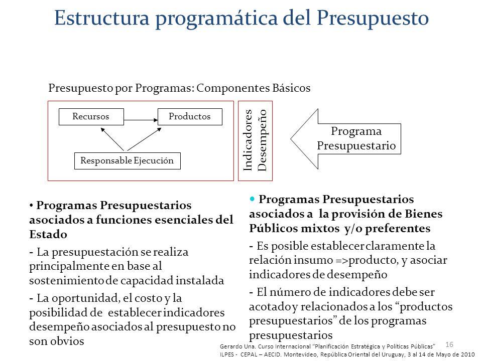 16 Estructura programática del Presupuesto Programas Presupuestarios asociados a funciones esenciales del Estado - La presupuestación se realiza princ