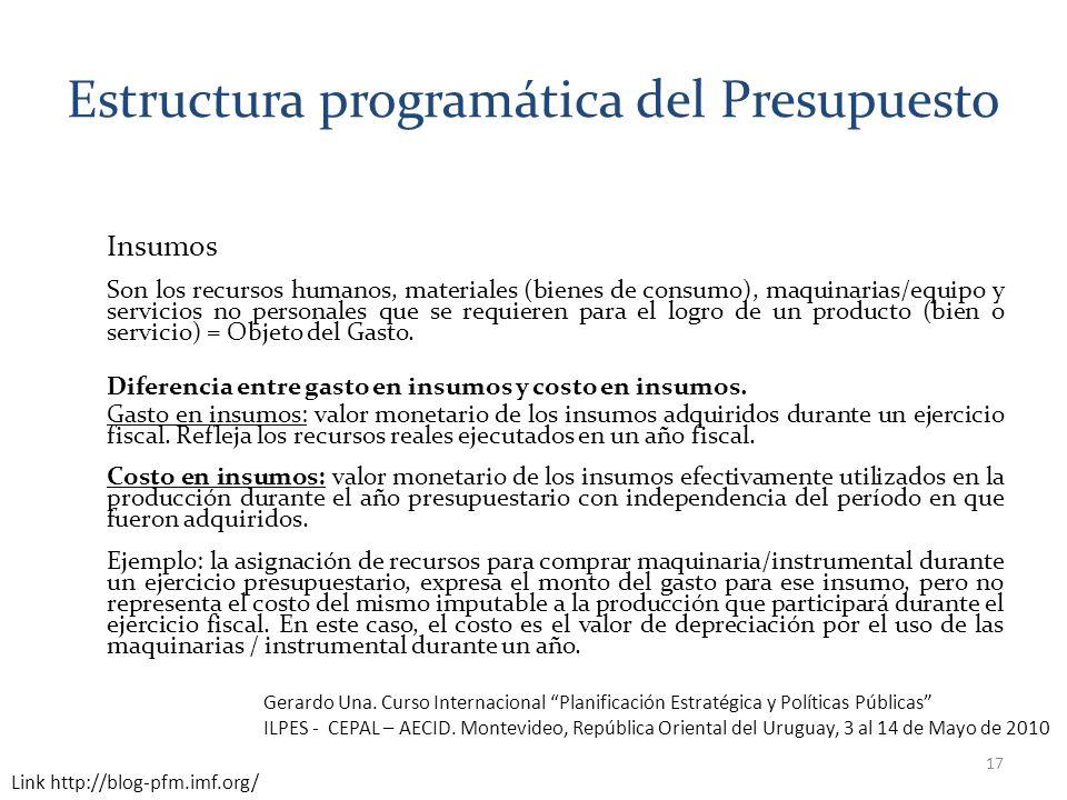 Estructura programática del Presupuesto Insumos Son los recursos humanos, materiales (bienes de consumo), maquinarias/equipo y servicios no personales