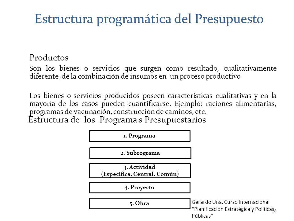 Estructura programática del Presupuesto Productos Son los bienes o servicios que surgen como resultado, cualitativamente diferente, de la combinación
