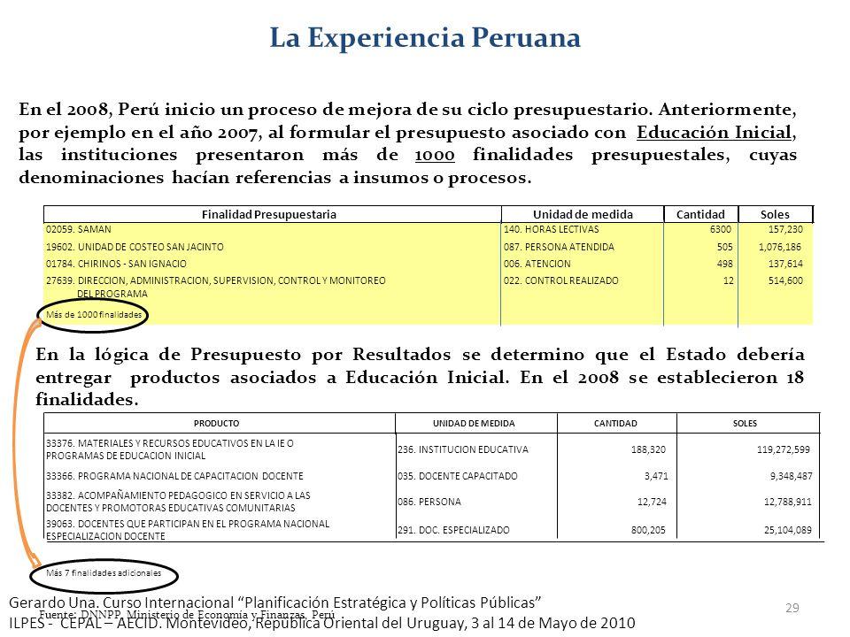 29 La Experiencia Peruana En el 2008, Perú inicio un proceso de mejora de su ciclo presupuestario. Anteriormente, por ejemplo en el año 2007, al formu