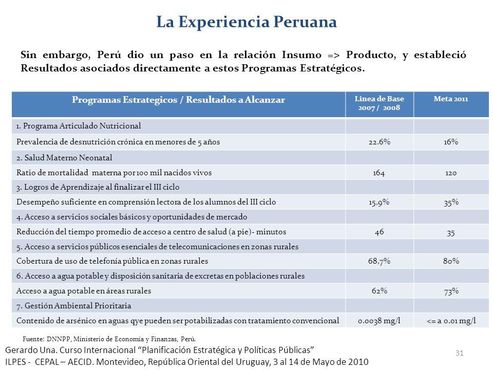 31 La Experiencia Peruana Sin embargo, Perú dio un paso en la relación Insumo => Producto, y estableció Resultados asociados directamente a estos Prog