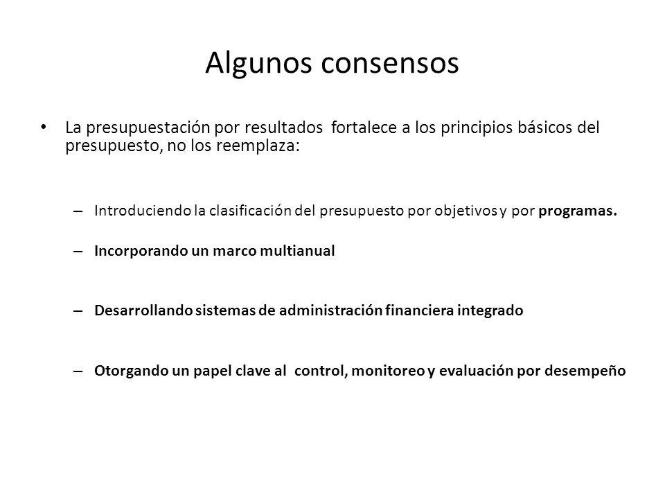 Algunos consensos La presupuestación por resultados fortalece a los principios básicos del presupuesto, no los reemplaza: – Introduciendo la clasifica