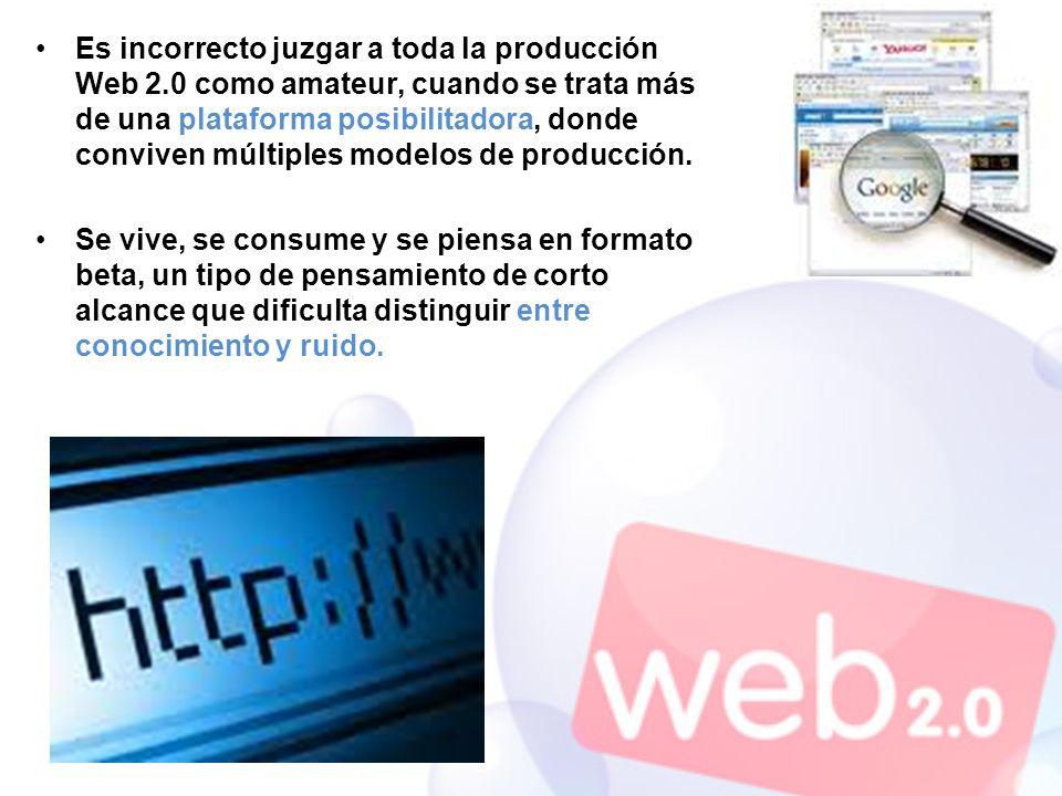 Es incorrecto juzgar a toda la producción Web 2.0 como amateur, cuando se trata más de una plataforma posibilitadora, donde conviven múltiples modelos