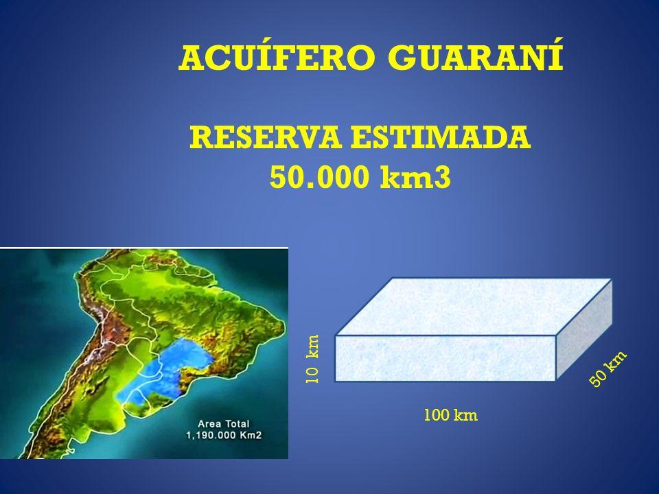ACUÍFERO GUARANÍ RESERVA ESTIMADA 50.000 km3 100 km 50 km 10 km