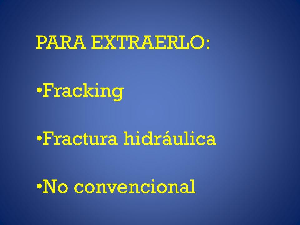 PARA EXTRAERLO: Fracking Fractura hidráulica No convencional