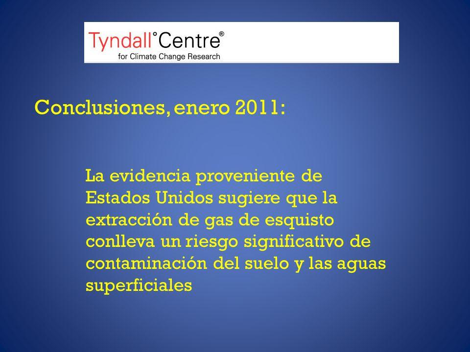 Conclusiones, enero 2011: La evidencia proveniente de Estados Unidos sugiere que la extracción de gas de esquisto conlleva un riesgo significativo de contaminación del suelo y las aguas superficiales