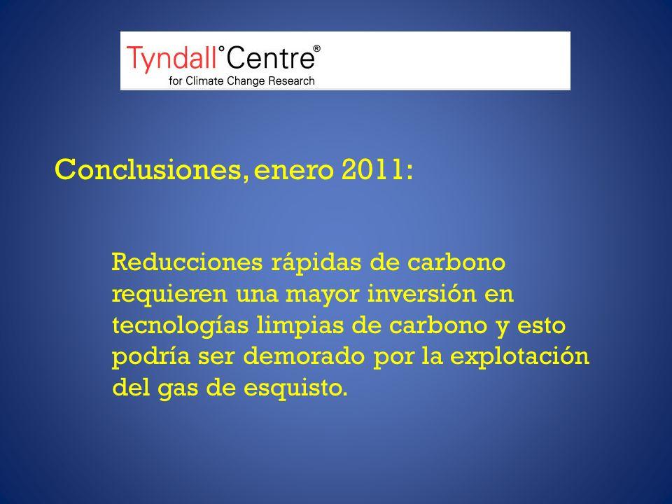 Conclusiones, enero 2011: Reducciones rápidas de carbono requieren una mayor inversión en tecnologías limpias de carbono y esto podría ser demorado por la explotación del gas de esquisto.