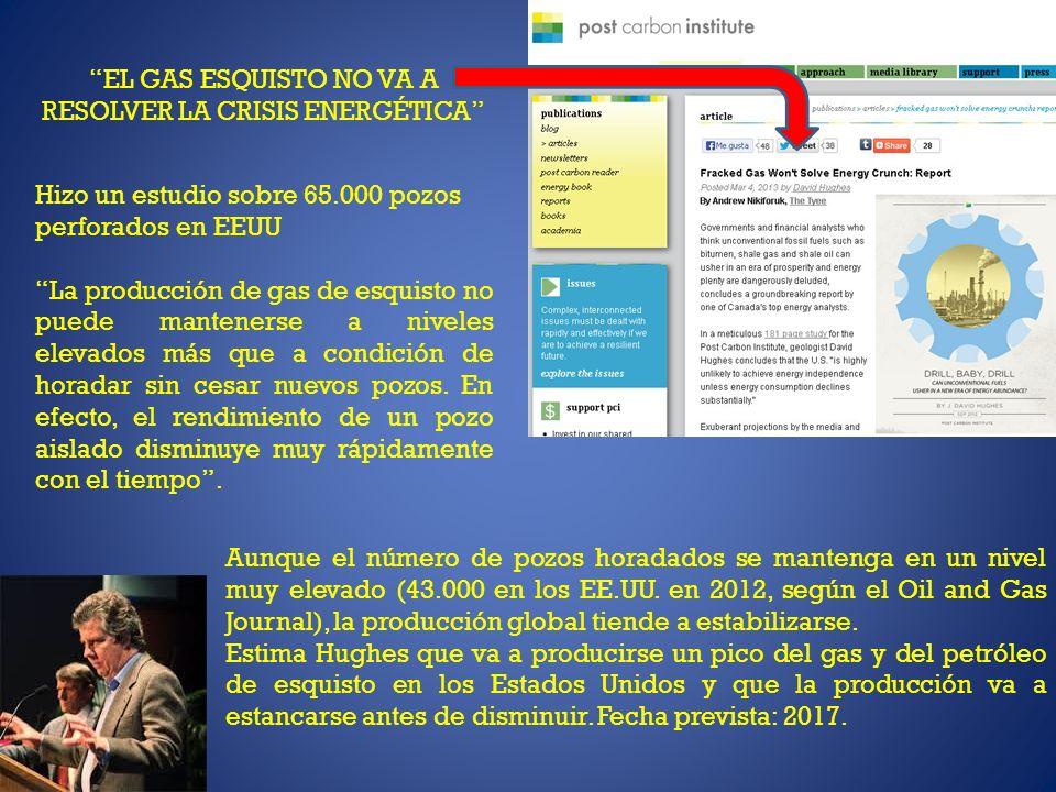 EL GAS ESQUISTO NO VA A RESOLVER LA CRISIS ENERGÉTICA Hizo un estudio sobre 65.000 pozos perforados en EEUU La producción de gas de esquisto no puede