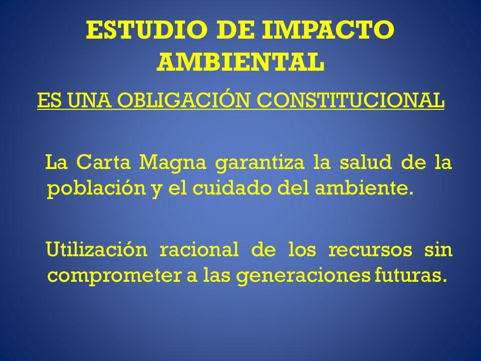 ESTUDIO DE IMPACTO AMBIENTAL ES UNA OBLIGACIÓN CONSTITUCIONAL La Carta Magna garantiza la salud de la población y el cuidado del ambiente. Utilización