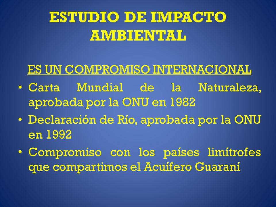 ESTUDIO DE IMPACTO AMBIENTAL ES UN COMPROMISO INTERNACIONAL Carta Mundial de la Naturaleza, aprobada por la ONU en 1982 Declaración de Río, aprobada p