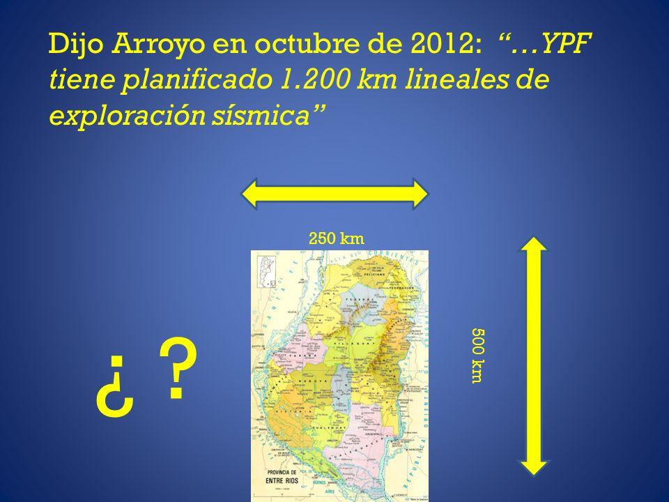 Dijo Arroyo en octubre de 2012: …YPF tiene planificado 1.200 km lineales de exploración sísmica 250 km 500 km ¿