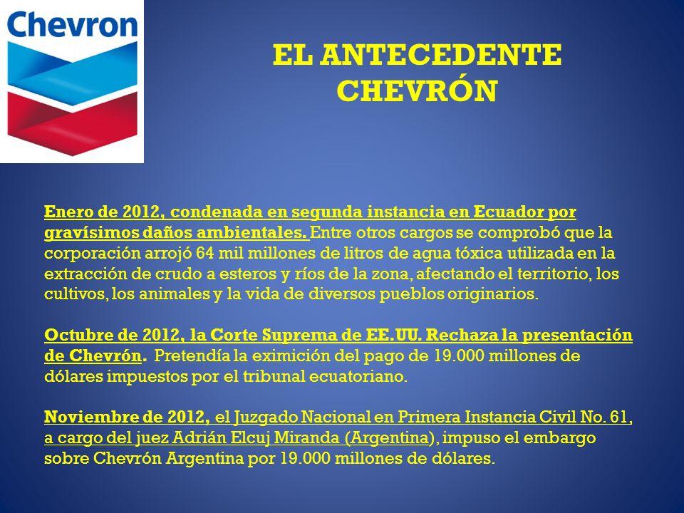 EL ANTECEDENTE CHEVRÓN Enero de 2012, condenada en segunda instancia en Ecuador por gravísimos daños ambientales. Entre otros cargos se comprobó que l
