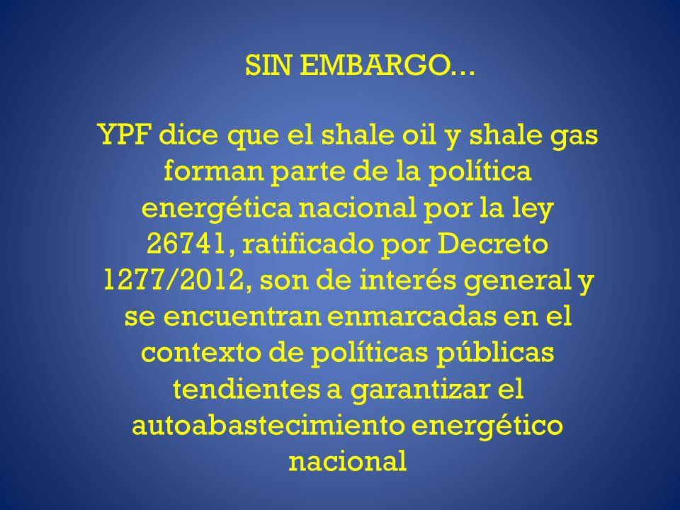 SIN EMBARGO... YPF dice que el shale oil y shale gas forman parte de la política energética nacional por la ley 26741, ratificado por Decreto 1277/201