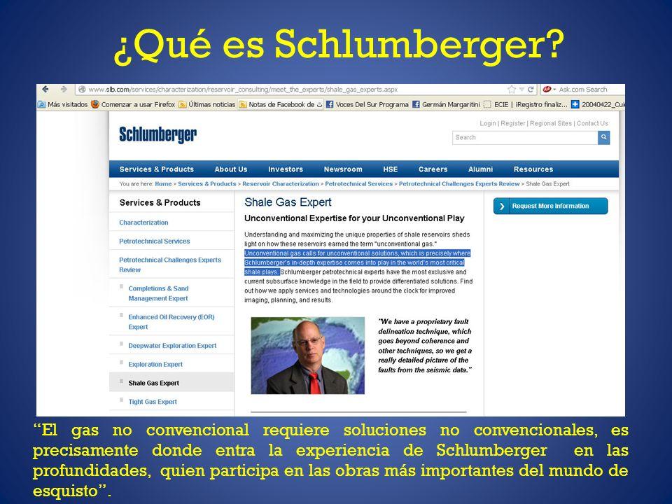 ¿Qué es Schlumberger? El gas no convencional requiere soluciones no convencionales, es precisamente donde entra la experiencia de Schlumberger en las