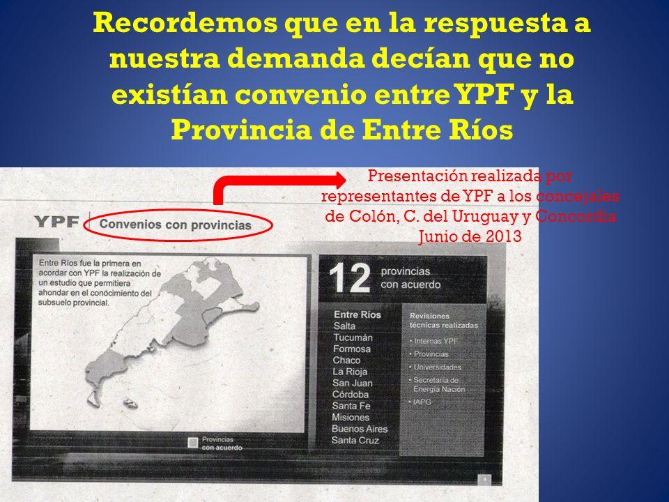 Presentación realizada por representantes de YPF a los concejales de Colón, C. del Uruguay y Concordia Junio de 2013 Recordemos que en la respuesta a