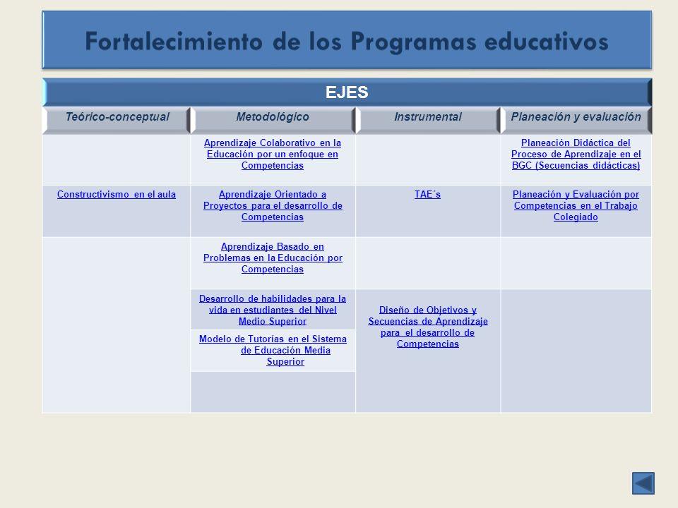 EJES Teórico-conceptualMetodológicoInstrumentalPlaneación y evaluación Aprendizaje Colaborativo en la Educación por un enfoque en Competencias Planeación Didáctica del Proceso de Aprendizaje en el BGC (Secuencias didácticas) Constructivismo en el aulaAprendizaje Orientado a Proyectos para el desarrollo de Competencias TAE´sPlaneación y Evaluación por Competencias en el Trabajo Colegiado Aprendizaje Basado en Problemas en la Educación por Competencias Desarrollo de habilidades para la vida en estudiantes del Nivel Medio Superior Diseño de Objetivos y Secuencias de Aprendizaje para el desarrollo de Competencias Modelo de Tutorías en el Sistema de Educación Media Superior