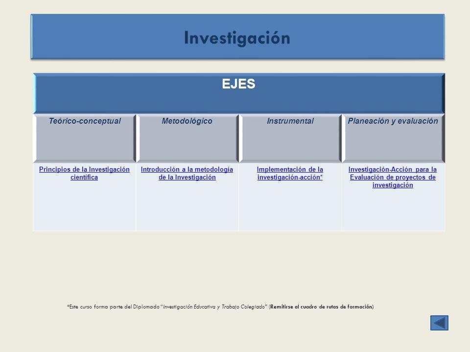 EJES Teórico-conceptualMetodológicoInstrumentalPlaneación y evaluación Principios de la Investigación científica Introducción a la metodología de la I