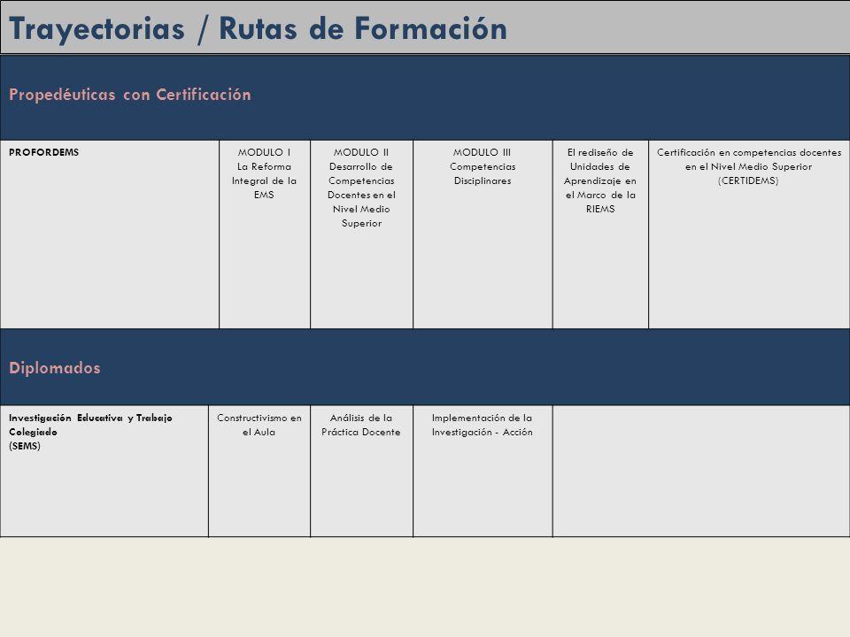 Trayectorias / Rutas de Formación Propedéuticas con Certificación PROFORDEMSMODULO I La Reforma Integral de la EMS MODULO II Desarrollo de Competencias Docentes en el Nivel Medio Superior MODULO III Competencias Disciplinares El rediseño de Unidades de Aprendizaje en el Marco de la RIEMS Certificación en competencias docentes en el Nivel Medio Superior (CERTIDEMS) Diplomados Investigación Educativa y Trabajo Colegiado (SEMS) Constructivismo en el Aula Análisis de la Práctica Docente Implementación de la Investigación - Acción