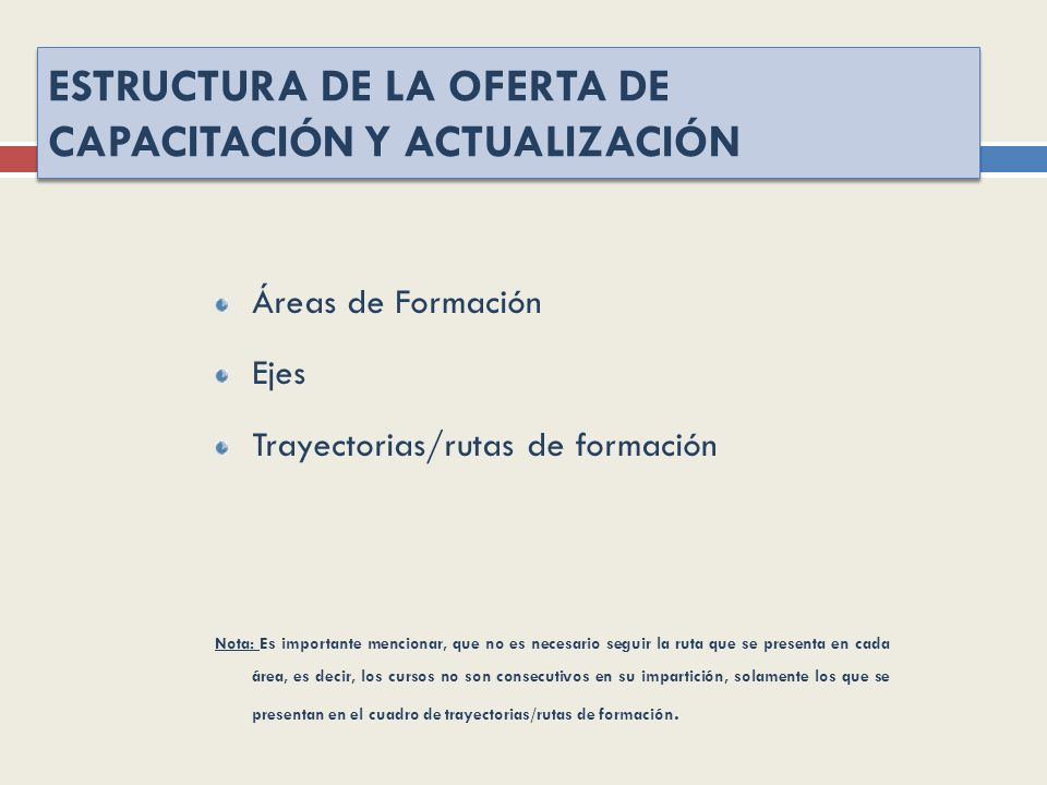ESTRUCTURA DE LA OFERTA DE CAPACITACIÓN Y ACTUALIZACIÓN Áreas de Formación Ejes Trayectorias/rutas de formación Nota: Es importante mencionar, que no
