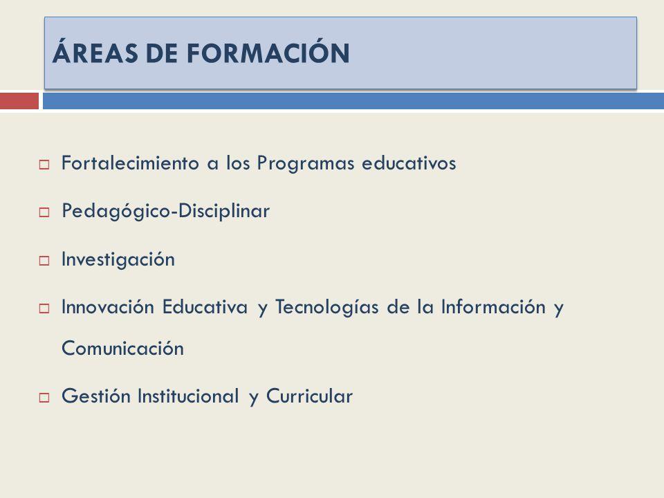 ÁREAS DE FORMACIÓN Fortalecimiento a los Programas educativos Pedagógico-Disciplinar Investigación Innovación Educativa y Tecnologías de la Información y Comunicación Gestión Institucional y Curricular